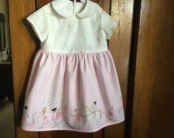 Custom Girl Dress Sarah Jane Fabric Children on Parade Sizees1 to 4 Toddler Short Sleeves Back Button Opening
