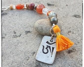 Tibetan Om Rear View Mirror Charm - Tibetan Prayer Bead with Orange Tassel - One of a Kind