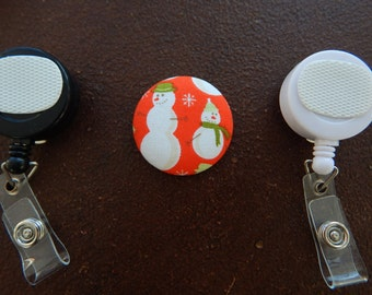 Fabric Covered Button for Clip on Retractable Badge Reel - Snowmen