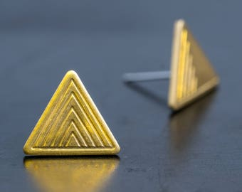 Triangle Brass Stud Earrings-Line Texture