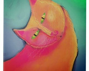 Beautiful Orange Cat Abstract Digital Painting Printed on Ceramic Tile