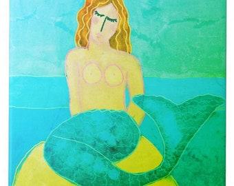 Beautiful Mermaid Abstract Digital Painting Printed on Ceramic Tile