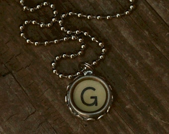 Personalized Initial Necklace,  Letter G, Writer Gift Idea, Vintage Typewriter Key,