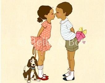Eskimo Kisses art print, sweet romantic art