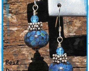 Blue on Amber Lampwork Earrings