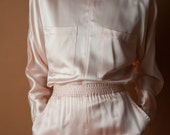 pale pink silk charmeuse pants set / matching set / lounge set / s / 2055t / B5