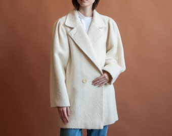 cream brushed wool coat / puff sleeve coat / structured 80s coat / s / m / 2135o / R5
