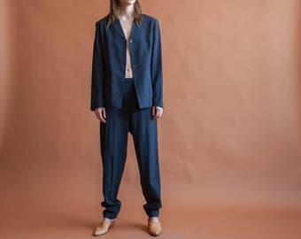 VANESSA BRUNO pinstriped wool blue pant suit / cropped pant suit / lightweight suit / FR 42 40 / m / 887o / R5