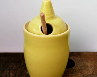 Yellow Ceramic Honey Pot Wheel Thrown Stoneware Clay Pottery Ready to Ship