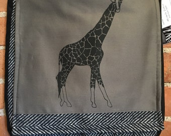 Giraffe Messenger Bag Gray & Black 12 x 12