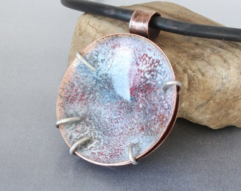 Blue and White Enameled Mixed Metals Pendant, Sterling Silver and Copper Pendant