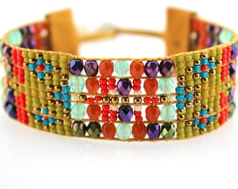 Beaded Boho Bracelet in Olive, Red, Purple & Turquoise Geometric Design - Loomed Statement Jewelry