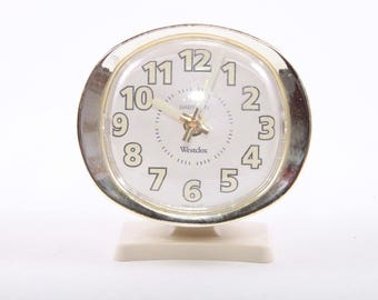 Wastclox, Alarm Clock, Wind Up, Clock, Small, Vintage, Neutral Colors, Three Inches ~ The Pink Room ~ 161218