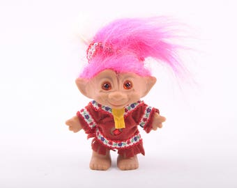 Native American Indian Vintage Troll, Dressed, Russ, Dam, Norfin, Collectible ~ The Pink Room ~ 161002C