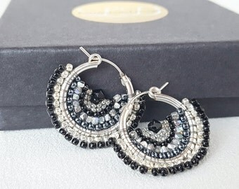 Mariposa - Silver and Black Beadwoven Butterfly Wing Earrings