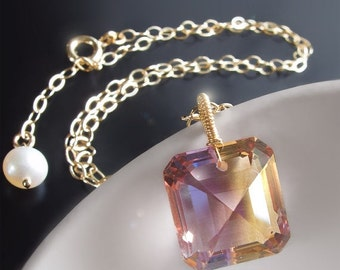 Valentines Day Sale - Custom Made to Order - 14k Ametrine Necklace