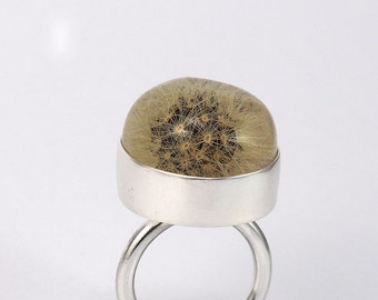 Full Dandelion Resin Ring, Dandelion Ring, Sterling Silver Ring, Resin Ring, Nature Jewelry, Woodland Jewelry