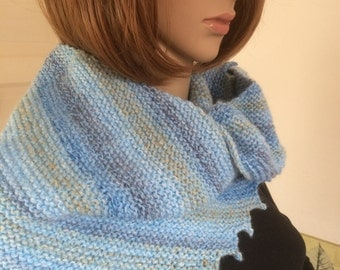 Knit Ladies Hitchhiker Scarf/ Knit Blue Asymmetric Scarf- Ready to Ship - Reduced