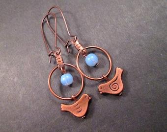 Bird Earrings, Blue Glass Beaded, Copper Dangle Earrings, FREE Shipping U.S.
