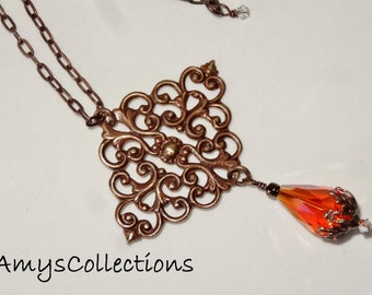 """Scrolled Ironwork Filigree Natural Brass Pendant with Orange Teardrop, 16""""adjustable to 18"""" Chain Necklace"""