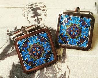 Azure Blue Victorian Tile Cufflinks
