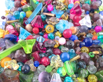 1 ounce grab bag of mixed glass bead, assorted colors, shapes and sizes