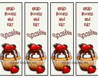 Printable Bookmark, Cupcakes with Chocolate and Strawberries, Read Books and Eat Cupcakes, Original Art, Instant Download, You Print