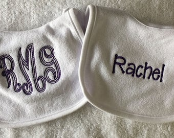 Personalized Monogrammed Baby Bib Custom Embroidered - Set of 2 - Bibs Shower gift new baby gift