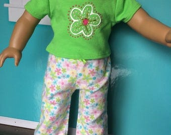 18 inch doll clothes - Funky Bright and Floral Pajamas- shirt and pants