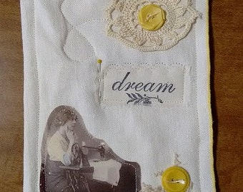 Fabric textile altered collage art...dream