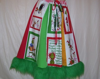 Grinch Party Skirt Adult Furry Hem Dr Seuss Ugly Sweater Party Christmas Holiday Merry Grinchmas Skirt Geek Skirt Adult S M L