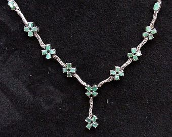 """Sterling Silver Emerald Marcasite Link Necklace 18"""""""