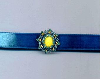 Gold& Blue Beadwoven Choker, Sea Glass/Natural Stone Cabochon, Lace Beadwork, Beaded Pendant, Statement Pendant, Golden and Blue Lacy Choker