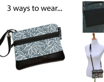 Cell Phone Purse - Fanny Pack or Wristlet - Cell phone Cross body Bag - Small Cross body Purse - Long Zip Phone Bag- Earl Gray Fabric