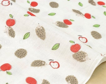 Japanese Fabric double gauze - hedgehogs and apples - 50cm