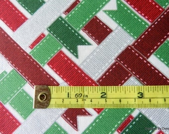 "One Yard Cut Quilt Fabric, Red, Green & Silver Metallic Christmas Ribbons, ""Ribbon Wrap"" by RJR, Sewing-Quilting-Craft Supplies"