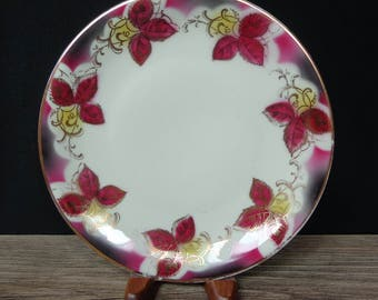 "Vintage Bavaria Porcelain Plate Cranberry Leaves Gold Filigree Pattern 7-3/4"" Dia"