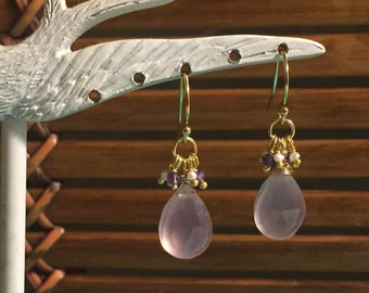 Lilac Chalcedony, Amethyst and Seed Pearl gold dangles