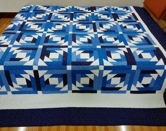King size Machine quilted Log Cabin Patchwork complete   Quilt