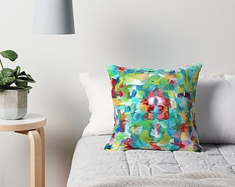 Watercolor Pillow, Abstract Watercolor, Pillow Cover, Blue And Green, Accent Pillow, Cushion Cover, Couch Pillow, Art Pillow, Modern Pillow