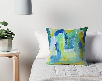 Blue And Green, Abstract Watercolor, Pillow Cover, Throw Pillow Cover, Sea Glass, Abstract Art, Blue Green Pillow, Blue Abstract Pillow