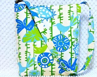 Turquoise Blue and Green Birds Hobo Bag, Handmade Purse Handbag