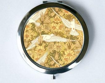 Art Nouveau Doves and Lilies Compact Mirror Pocket Mirror design Pattern