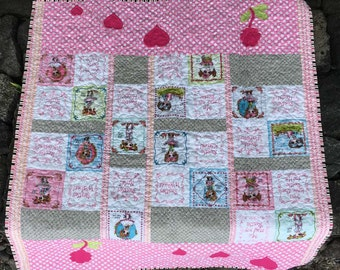 Little Girl Quilt - Besties, Best Friends, Pink Girl Quilt - Quiltsy Handmade