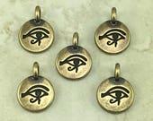 Eye of Horus Round Stamp charm > Pyramid Ra Egyptian Egypt Symbol Sun God - Brass Ox Plated Lead Free pewter I ship Internationally 2503