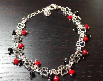 Black and Red Paw Print Chain and Crystal Bracelet