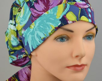 Scrub Hats // Scrub Caps // Scrub Hats for Women // The Hat Cottage // Small // Fabric Ties // Midnight Garden