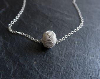 Pure Silver Woven Bead Necklace on Slim Sterling Silver Chain