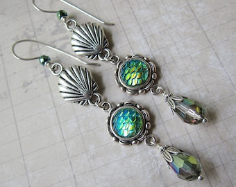 Mermaid Treasures - Iridescent Green Mermaid Scale Earrings with Shell and Glass Accents