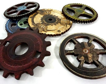 Wooden Rustic Gears - Collection of 6 Laser Cut Wood Craft Parts